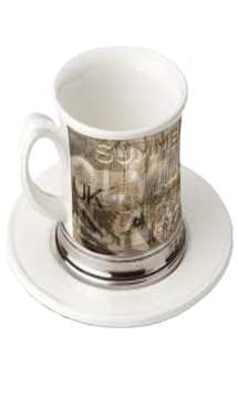 White Cup WIth Cower Design