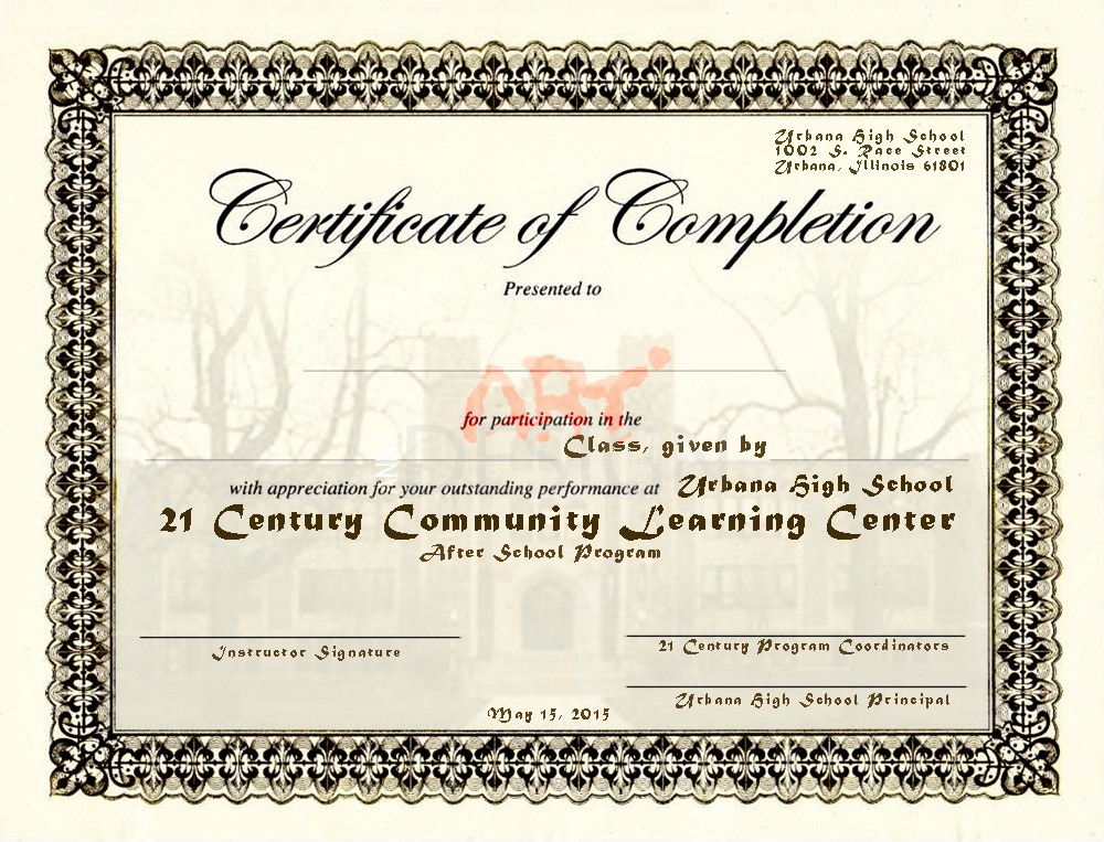 certificate customized 21 century Urbana High School Il by Ganna Sheyko / Anna Art Design