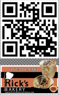 Rick's Bakery Urbana Il - promotional flyer with Qr- code by Ganna Sheyko
