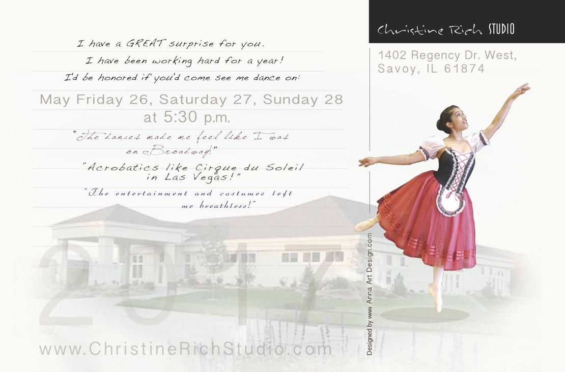 Christine Rich Studio recital 2017 by Ganna Sheyko Anna Art Design postcard